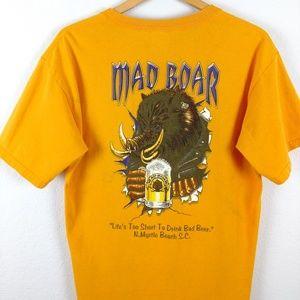 Mad Boar Beer Motorcycle Biker Hog Yellow Tshirt